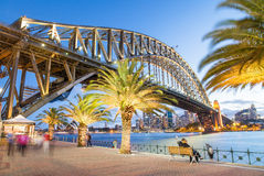 Magnificence of Sydney Harbour Bridge at dusk Royalty Free Stock Photos