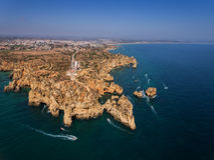 Magnificent aerial view of Ponta da Piedade . Stock Photo