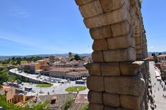 Magnificent Angular Photograph Of The Two Sides Of The Aqueduct In Segovia. Architecture, Travel, History. June 18, 2018. Segovia Castilla Leon Spain Stock Image