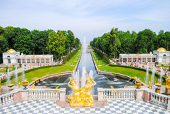 The magnificent architecture of Peterhof Stock Images