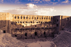 Magnificent Aspendos theater at sunset, Turkey Royalty Free Stock Images