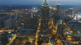 Magnificent Atlanta downtown skyline busy urban financial district skyscraper cityscape at night in 4k aerial drone view. Magnificent Atlanta downtown skyline stock footage