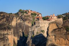 Magnificent autumn landscape.Beautiful view on the Holy Monasteries of Great Meteoron and Varlaam placed on edge of high rocks. royalty free stock photography