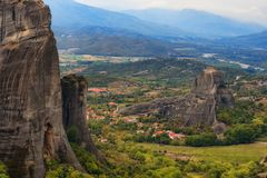 Magnificent autumn landscape of Meteora. Meteora rocks in a sunny, cloudy day. Pindos Mountains, Thessaly, Greece, Europe Stock Photos