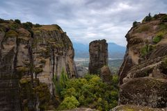 Magnificent autumn landscape of Meteora. Meteora rocks in a sunny, cloudy day. Pindos Mountains, Thessaly, Greece, Europe Stock Photography