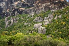 Magnificent autumn landscape of Meteora. Meteora rocks in a sunny, cloudy day. Pindos Mountains, Thessaly, Greece, Europe Royalty Free Stock Photos