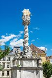 Magnificent baroque column, Sopron, Hungary. Magnificent baroque column in Sopron, Hungary. Holy trinity statue. Religious architecture. Artistic object. Travel Stock Photography
