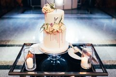 Magnificent bisexual cake for brides and guests.  royalty free stock images