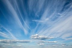 The magnificent blue sky with beautiful cirrus clouds royalty free stock image