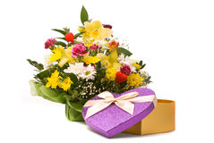 Magnificent bouquet and present box Stock Images