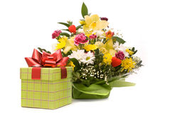 Magnificent bouquet and present box Royalty Free Stock Images