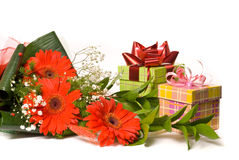 Magnificent bouquet and present boxes Royalty Free Stock Photography