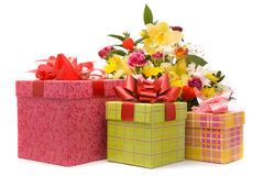 Magnificent bouquet and present boxes Royalty Free Stock Image