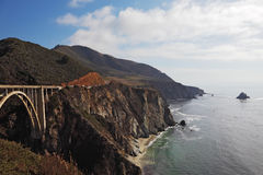 The magnificent bridge. The triumph of engineering. The magnificent bridge on the coastal highway Pacific Coast Royalty Free Stock Photos