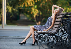 Magnificent brunette sits on bench Stock Photos