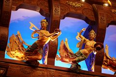 Magnificent buddhist palace interior Stock Images
