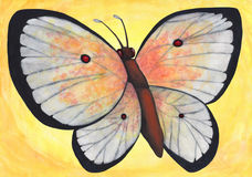 Magnificent Butterfly 2017. An abstract colorful watercolor painting illustration of a large white butterfly with red spots on its wings flying in front of a Stock Photos