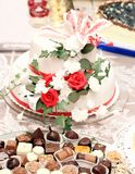 Magnificent cake with flowers in vintage style Stock Photos