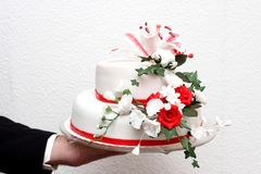 Magnificent cake with red roses flowers in vintage style Royalty Free Stock Photo