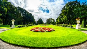 Magnificent Castle De Haar surrounded by beautiful manicured Gardens stock images