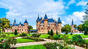 Magnificent Castle De Haar surrounded by a Moat and Beautiful Gardens. A 14th century Castle and restored in the late 19th century. Haarzuilens, Utrecht/the royalty free stock images