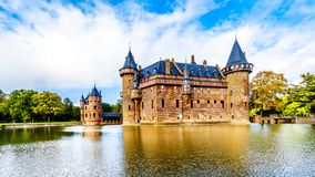Magnificent Castle De Haar surrounded by a Moat, a 14th century Castle completely rebuild in the late 19th century royalty free stock photo