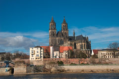 Magnificent Cathedral of Magdeburg at river Elbe with blue sky, Royalty Free Stock Image