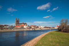 Magnificent Cathedral of Magdeburg at river Elbe, Germany Royalty Free Stock Images
