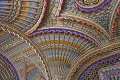Magnificent ceiling in the Peacock room of Sammezzano Castle Stock Photos