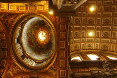 Magnificent ceiling St Peter Basilica Vatican Stock Photo