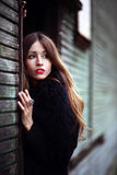 Magnificent charming gipsy close up portrait colorful dress and fur coat dressed outdoor Stock Photo