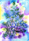 Magnificent Christmas fur-tree. With garlands Stock Images