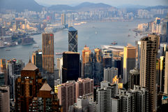 The magnificent cityscape of Hongkogn in sunset Stock Images