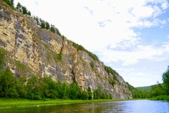 The most picturesque river AI. Bashkiria. Ural. Magnificent cliffs, green forest and river inspire. Beauty of Russian nature. Landscapes Of The Urals. All this royalty free stock images