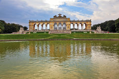 Magnificent colonnade and pond Stock Photo
