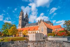 Magnificent colorful Cathedral of Magdeburg in Autumn, Germany. Sunset royalty free stock image