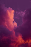 Magnificent colorful clouds in the evening sky. Bright, pink clouds in the sky at sunset. Beautiful evening skyscape. Abstract, pu Royalty Free Stock Photography