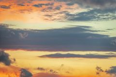 Magnificent Colorful Clouds in Evening Sky stock photo
