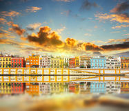 Magnificent Colorful panorama of Seville riverside of Guadalquivir at sunset, Spain. Travel background royalty free stock photo