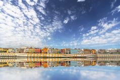 Magnificent Colorful panorama of Seville riverside of Guadalquivir at sunset, Spain. Travel background royalty free stock photos