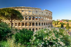 The magnificent Colosseum at sunrise, Rome, Italy, Europe. royalty free stock image