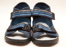 Magnificent dark blue children's sandals Stock Image