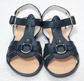 Magnificent dark blue children's sandals Royalty Free Stock Photography