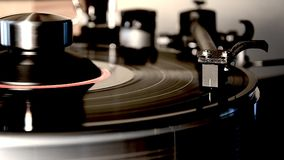 Magnificent detailed close up loop shot of vintage retro vinyl album black old record player gramophone on turntable. Fascinating detailed close up loop view on stock footage