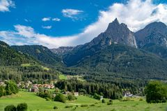 Magnificent Dolomites, village in Dolomite Alps, South Tyrol, Italy royalty free stock images