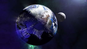 Magnificent earth lights from the universe 4K. Magnificent earth zoom in the universe. The camera flying along the world globe with city lights from all over the stock video