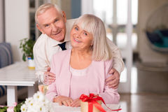 Magnificent elderly couple modeling for photo Stock Photos