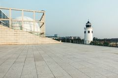 Outside the building of Shanghai maritime museum stock photo