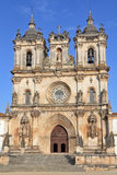 The magnificent facade. Catholic monastery and church in a small town Alkobasa. Portugal Stock Photo