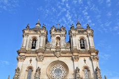 The magnificent facade. Catholic monastery and church in a small town Alkobasa. Portugal Royalty Free Stock Photos